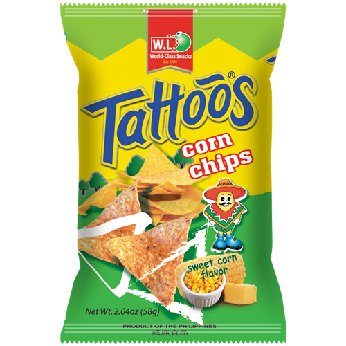 Picture of PH Tattoos Corn Chips Sweet Corn Flavor