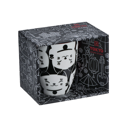 Picture of JP Mug Giftbox Lucky Cat Black/White - 380ml.