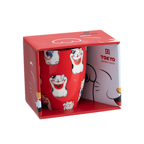 Picture of JP Mug Giftbox Lucky Cat Classic Red - 380ml.