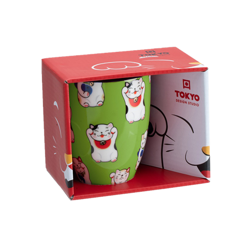 Picture of JP Lucky Cat Mug Giftbox Green - 380ml.