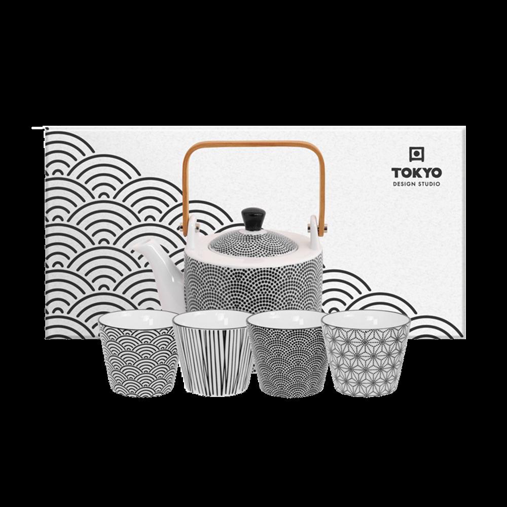 Picture of JP Nippon Black Tea Set Dots 0.8lt w/4Cups Lines