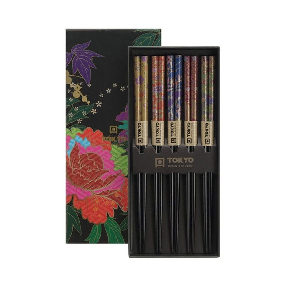 Picture of Chopstick Set/5 Giftbox Peony Flower
